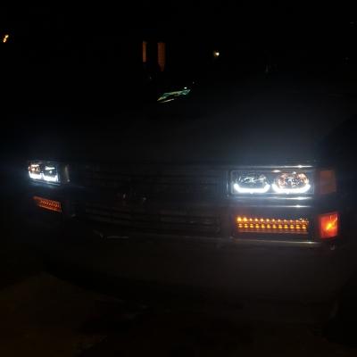 Chevy Tahoe 1995-1999 Black Headlights U-shaped LED DRL ...