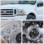 Ford F350 Super Duty 1999-2004 Clear Dual Halo Projector Headlights with LED