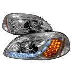 Honda Civic 1996-1998 Clear Projector Headlights with Amber LED Daytime Running Lights