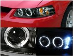 Ford Mustang 1999-2004 Black Dual Halo Projector Headlights with LED
