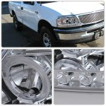 2002 Ford F150 Clear Halo Projector Headlights with LED Eyebrow