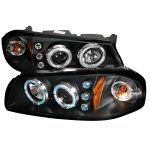 Chevy Impala 2000-2005 Black Dual Halo Projector Headlights with LED