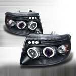 Ford Expedition 2003-2006 Black Dual Halo Projector Headlights with LED