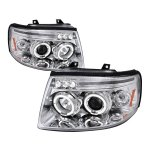 Ford Expedition 2003-2006 Clear Dual Halo Projector Headlights with LED