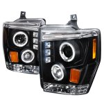 Ford F250 Super Duty 2008-2010 Black Dual Halo Projector Headlights with LED