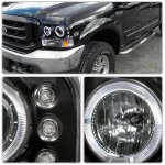 Ford F350 Super Duty 1999-2004 Black Dual Halo Projector Headlights with LED