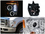 Ford F350 Super Duty 2008-2010 Clear Dual Halo Projector Headlights with LED