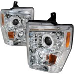 Ford F250 Super Duty 2008-2010 Clear Dual Halo Projector Headlights with LED